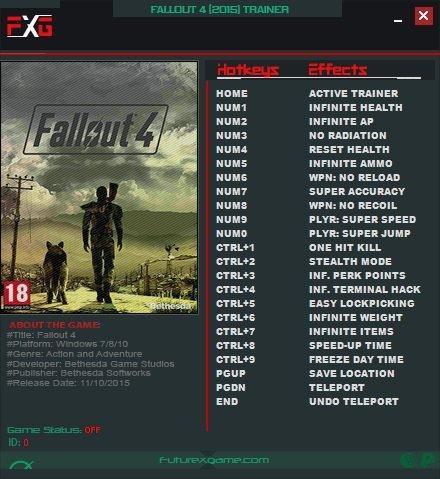 трейнер Fallout 4 Trainer 1.0 - 1.10.64 [+20 ]
