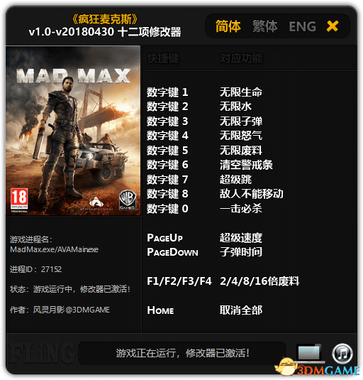 Mad Max Trainer [+12] (ver. - all)