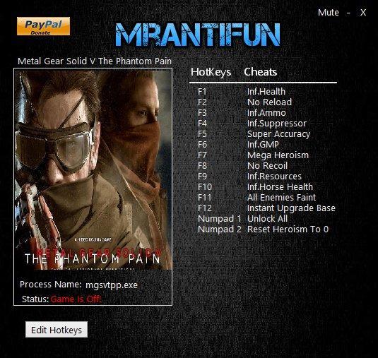 Metal Gear Solid 5 - The Phantom Pain Trainer [+14]