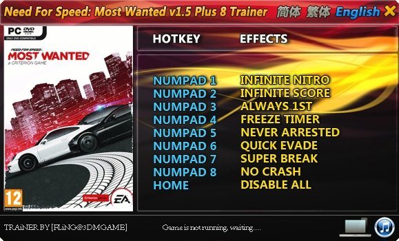 Need for Speed - Most Wanted (2012) Trainer [+8] (1.5)