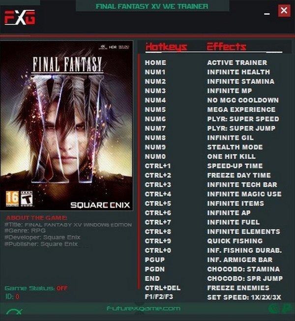Final Fantasy 15 Trainer [+25] (Latest)